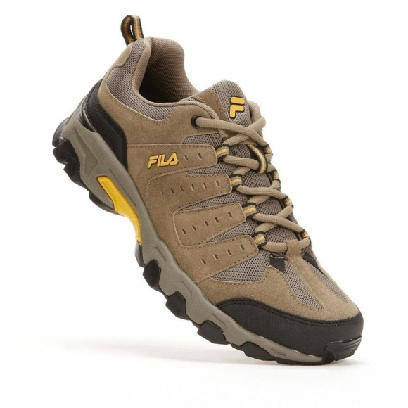 Men's FILA Travail Trail Running Shoes Brown Gold